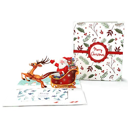 Dependable Handicraft 3d Holiday Greeting Cards Santas Sleigh Deer Pop Up Thanksgiving Invitations Card Bands Without Stones