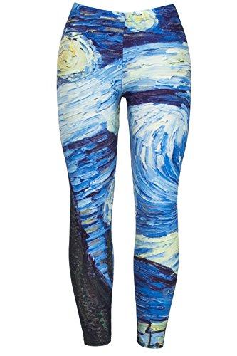 DODOING Damen Sport Leggings - TUMMY CONTROL - High Waist Lang Legging Bunt Vortex-Muster Yoga Sportleggings Sporthosen Tights für Gym...