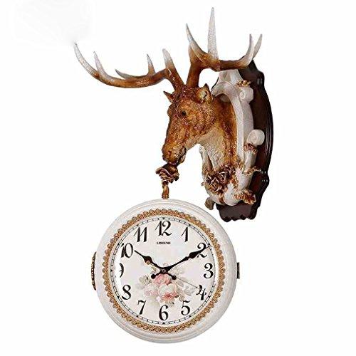 Sunjun Retro Uhr Sided Wanduhr Wohnzimmer Kreative Pers5onlichkeit Hirsch  Kopf Quarz Uhr