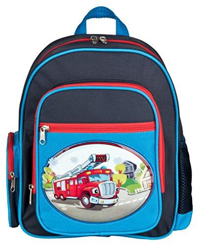 Aminata Kids - Rucksack Kindergarten Junge Feuerwehr | hochwertiger Kinder-Rucksack aus Nylon, 4 Fächern mit Reißverschluss | Bequeme Tragegurte | blau, rot | wasserabweisend | Geschenk-Idee