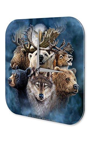 Orologio da parete Divertimento Decorazione del muro Marke Alaska Animali Plexiglas Acrillico Stampato 25x25 cm