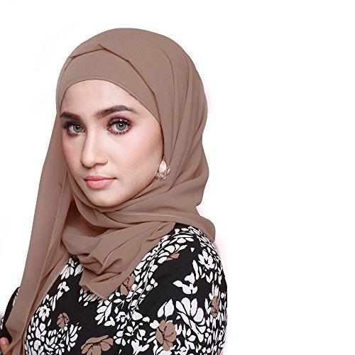 Sanaya Sanaya Kopftuch Halstuch Haartuch Hijab Baumwolltuch Maxi Size modern Tuch für Damen 100% Baumwolle 80cm*180cm Braun
