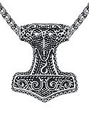 Aoiy Herren-Halskette mit Anhänger, Wikinger Thors Hammer, Edelstahl, 61cm Kette, aap150