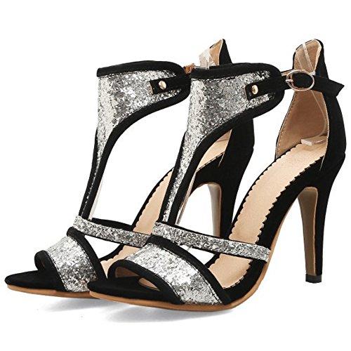 TAOFFEN Femmes Peep Toe Bottillons Sandales Aiguille Talons Hauts Ete Chaussures Noir
