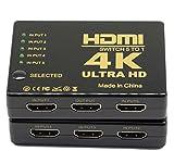 HDMI Switch 4K Intelligente 2-Port HDMI Switch, 5in 1out HDMI Switcher HDMI Splitter mit IR-Funk-Fernbedienung, High Speed HDMI Konverter, Unterstützt Full 3D 4K x 2K für HDTV/DVD/STB/PC/projecto