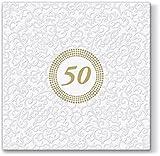 20 Servietten Symbol 50 weiß / gold / Goldhochzeit / Geburtstag 33x33cm