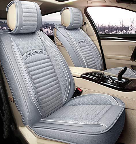 Leicht zu reinigende Autositzkissen aus PU-Leder, 5 Sitze, kompletter Satz - rutschfeste Autositzbezüge aus Wildleder mit universeller Passform für Autositze aus Stoff und Leder,Gray Hybrid Fusion Protector