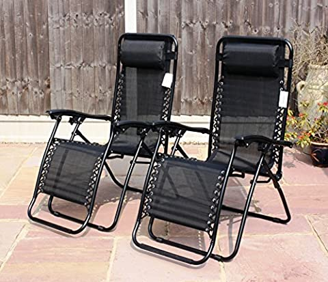 SET OF 2 GARDEN GRAVITY SUN LOUNGER FOLDING SUN BED RELAXING RECLINING CHAIRS (Black)