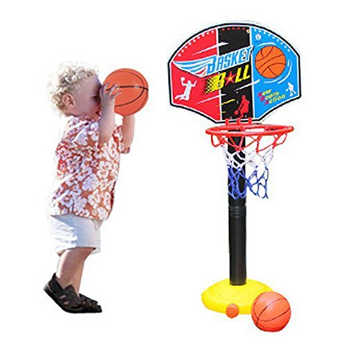 Adjust Children Kids Junior Basketball Hoop And Stand Ball Pump Backboard Set and Ball Indoor Outdoor Fun Toys Activities Boy Kids For 3 years older Christmas Gift (3 years) Toddler Baby Sports