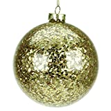 Large Glass Christmas Tree Bauble with Gold Confetti (10cm)
