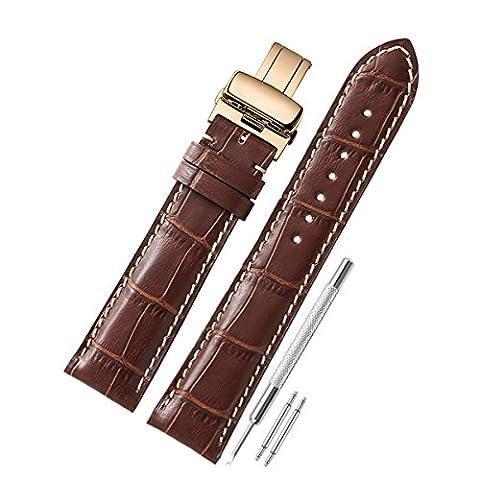 CHIMAERA echtes Kalbsleder Ersatz 18mm 19mm 20mm 21mm 22mm Uhrenarmband Armband Schmetterling Wölbung Uhrenarmband