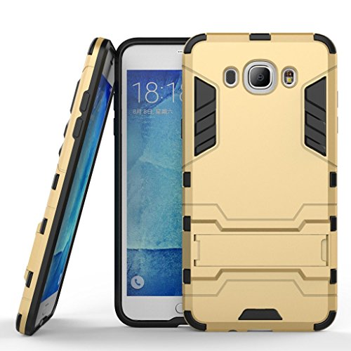 Chevron Rugged Terrain Armor Protective Shockproof Kick Stand Back Cover Case for Samsung Galaxy J7 - 6 (New 2016 Edition) (Gold)