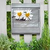 Briefkasten bunt Edelstahl Zeitungsfach motivX Kombi Wandbriefkasten mit Motiv Verliebte Gänseblümchen