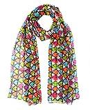 #6: Anuze Fashions Pretty Long Soft Multi Colour Heart Print Women Fashion Poly Cotton Scarf Wrap Shawl Stole Scarves