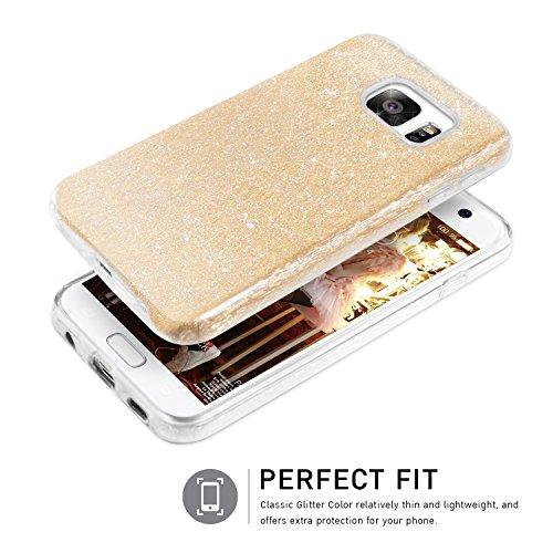 Coque Samsung Galaxy S7, TheBlingZ® housse étui de protection [Hybrid Case] Etui de couverture Bling Bling avec brillants en TPU - Argent Or