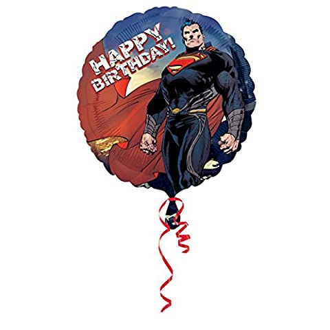 Amscan 18 Inch Superman Man Of Steel Happy Birthday Circular Foil Balloon (One Size) (Blue/Red)
