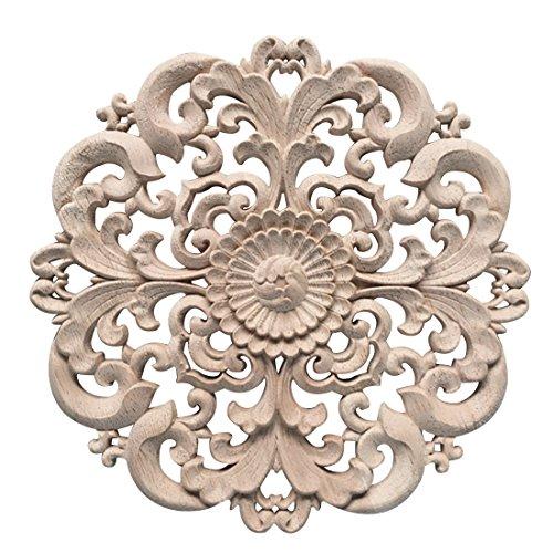 Yuena Care Möbel Schnitzerei Holz Verzierung Ornament für Schrank Tür Fenster Durchmesser 15 cm #2 - Aus Verzierungen