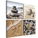 murando - Bilder Steine 40x40 cm - Leinwandbilder - Fertig Aufgespannt - Vlies Leinwand - 4 Teilig - Wandbilder XXL - Kunstdrucke - Wandbild - Canvas - Spa Natur Meer Sand Wasser beige b-B-0235-b-i