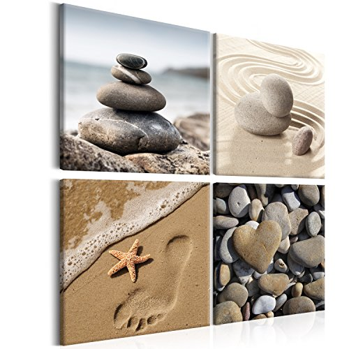 ine 40x40 cm - Leinwandbilder - Fertig Aufgespannt - Vlies Leinwand - 4 Teilig - Wandbilder XXL - Kunstdrucke - Wandbild - Canvas - Spa Natur Meer Sand Wasser beige b-B-0235-b-i (Spa Steine)