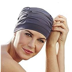 Gorro de baño -piscina y playa- azul grisáceo específico para mujer con quimioterapia