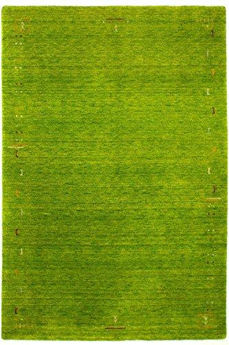 Morgenland Gabbeh Teppich FENTH Bordüre Einfarbig Muster Schurwolle Orientalisch, Größe:350 x 80 cm Läufer, Farbe:Gruen -