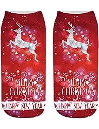 Naturazy Navidad Calcetines Cortos lexible y Adaptado Calcetines Ocasionales Impresos Moda Divertida Manera 3D Navidad Calcetines