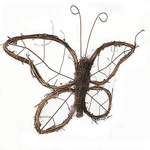 FLYWM Weihnachten Dekoration Natürliche Rattan Schmetterling Kranz Dekoration Halloween Festival