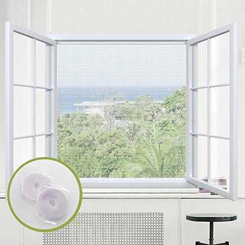 Rabbitgoo Moskitonetz Insektenschutz Fliegengitter für Fenster, weiß, durchsichtig, 1,3m x 1,5m