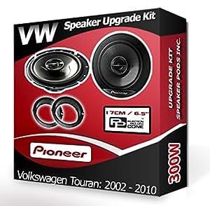 Porte arrière pour VW Touran Haut-parleurs Pioneer Haut-parleurs de voiture + adaptateur Anneaux gousses 240W