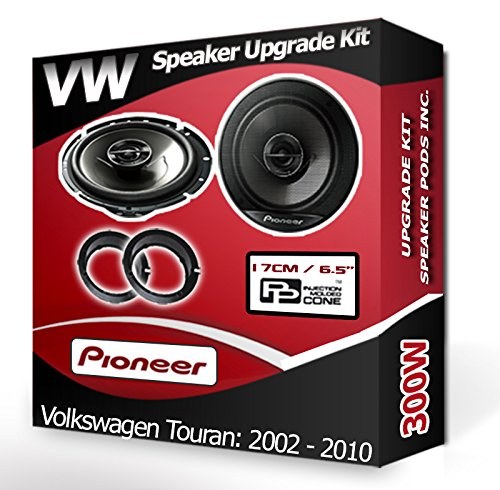 Pioneer Porte arrière pour VW Touran Haut-parleurs Haut-parleurs de Voiture + Adaptateur Anneaux gousses 240 W