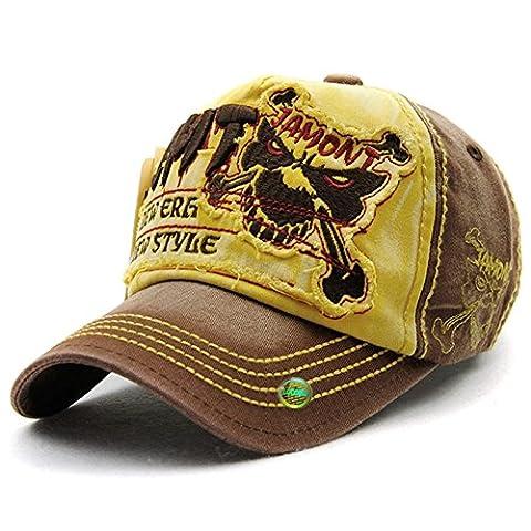 LOCOMO Hats - Casquette de Baseball - Homme Jaune FFH350 | Skull Bone | Brown and Yellow taille unique