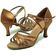 Colorfulworldstore Zapatos de baile latino con cinco correas de satén en color bronce/ rojo/negro/beige/naranja