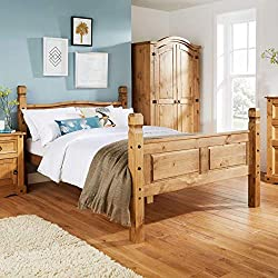 Home Source Corona Pine Double Bed 4ft 6 Solid Wood High Foot End Bedframe Slatted Base