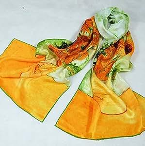 """Foulard /écharpe / fichu /bandeau /bandeau à cheveux 100% en Soie de peinture Impressionnist Art impression pour les femmes et filles-Motif:Van Gogh """"Vase with Twelve Sunflowers"""" (""""Vase avec douze tournesols"""")-Cadeau d'anniversaire"""
