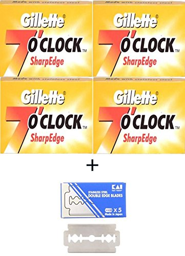 20 Gillette 7'o Clock Sharp Edge Rasierklingen + 1 KAI Stainless Steel Rasierklingen 1 Kostenlose