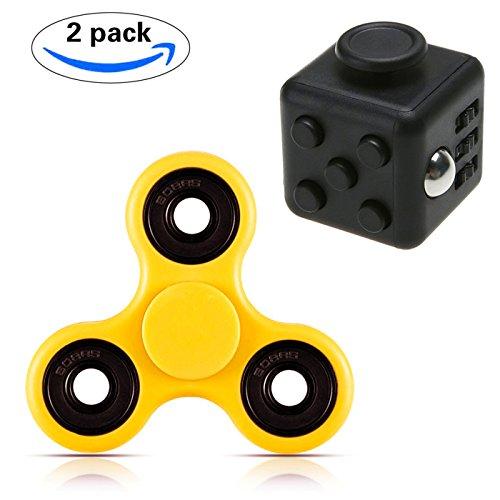 KAIHONG Stresswürfel wie Fidget Cube/Fidget Spinner Fidget Toys Hand Spinner Finger Spielzeug für Kinder und Erwachsene Spielzeug Geschenke,Anxiety, and Autism Adult Children (2 Stück, orange)