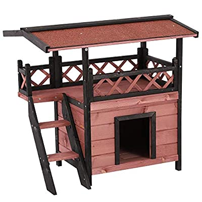 Pawhut Wood Cat House Outdoor Luxury Wooden Room View Patio Weatherproof Shelter Dog Puppy Garden Large Kennel Crate Two Colours from Sold by MHSTAR