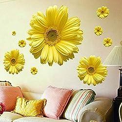 superchao 1 Unidades Flores Amarillas Decorativas Combinación DIY Etiqueta de La Pared Decoración Crisantemo Margarita Hogar Dormitorio Tatuajes de Pared
