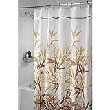 InterDesign Anzu Duschvorhang | waschbarer Duschvorhang in 180,0 cm x 200,0 cm | mit Floralem Duschvorhang Motiv | Polyester Braun