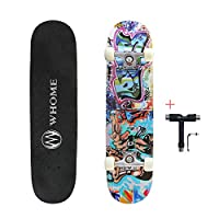 "WHOME Pro Skateboard Complete for Adult Youth Kid and Beginner - 31"" Double Kick Concave Street Skateboard 8 Layer Alpine Hard Rock Maple Deck ABEC-9 Bearings Includes T-Tool"