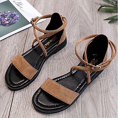 zhENfu Donna sandali di gomma Comfort estate passeggiate all'aperto Comfort Lace-up tacco basso marrone chiaro beige sotto nero 1in Light Brown