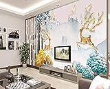 LONGYUCHEN Dreidimensionale Elch Reichen Baum Seide 3D Wandbild Tapete Geeignet Für Wohnzimmer Wand Heimtextilien Ohne Kleber,150Cm(H)×240Cm(W)