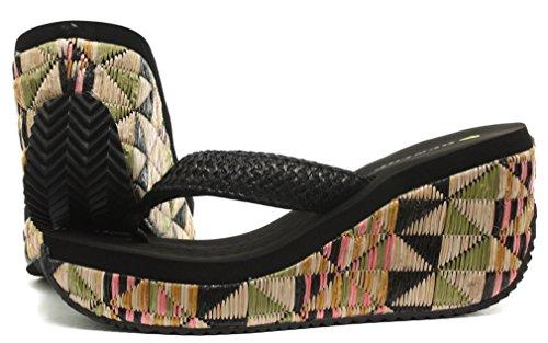 Dunlop Raffia Femme Flip Flops avec Wedge Black