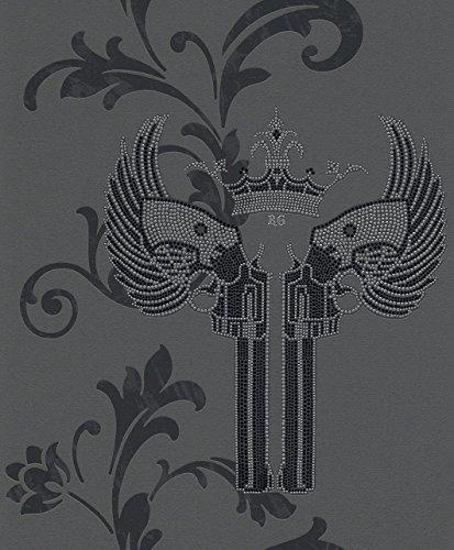 Rasch Vlies Tapete - Größe: 0,53 x 10,05 m - Farbe: grau, /, schwarz, silber, /, metallic - Stil: Muster & Motive (modern) (Strass Pistole)