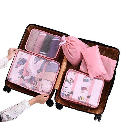 Custodia da viaggio borsa da viaggio coreana set di vestiti da viaggio a sei pezzi - rosa