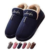 Asifn Indoor Home Men Slippers House Women Cozy Memory Foam Warm Snti Skid Wear Resistant Wool Drag Blue 38 EU,24 cm Heel to Toe