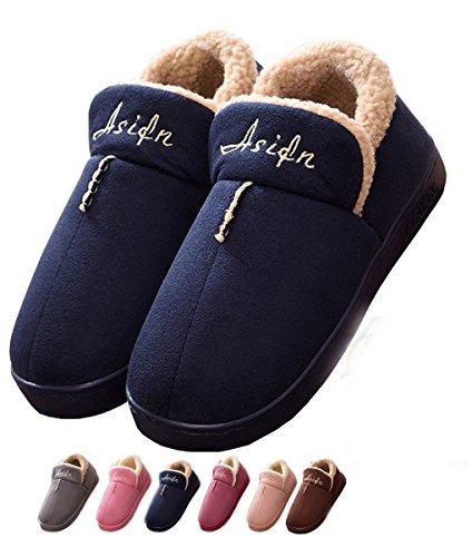 Indoor Home Hausschuhe Cotton Slippers Winter Cozy Memory Schaum Warm Anti-Rutsch Verschleiß-resistenten Wolle Drag Lijeer, Größe EUR39-40=(CN40-41), Farbe