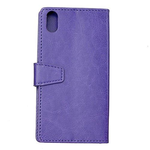 JIALUN-Telefon Fall PU-lederner Folio-Standplatz-Fall-Mappen-Beutel-Kasten-Abdeckung mit Karten-Schlitzen für iPhone 8 ( Color : Purple ) Purple