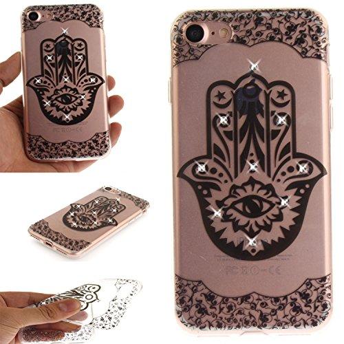 Ooboom® Coque pour iPhone 5SE Housse Transparent TPU Silicone Gel Étui Cover Case Souple Ultra Mince avec Bling Glitter - Paon Fleur Paume