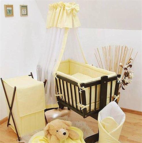 Baby Comfort | 7pezzi Set di biancheria per culla Drape + Supporto per lettino/culla da 90x 40cm-Tinta unita Giallo Crema